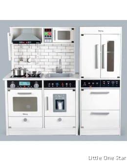 Kitchen with Fridge: Comes with sound and light on stove and microwave (WHITE)