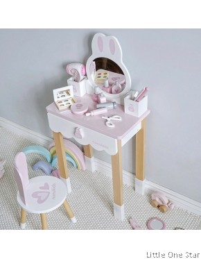 Wooden toys: NUNU Rabbit pastel make up table with chairs and accesories