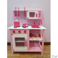 Wooden Kitchen : Pink Flower series with microwave