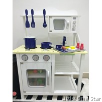 Wooden Kitchen: White series with Blue accesories