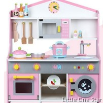 Wooden Toys: House Kitchen with oven, microwave, dish washer, sink
