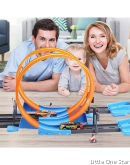 Let's Roller Coast : Racing cars Double Track with Spring Push Rack