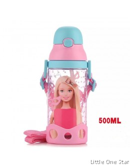 Barbie Water Bottle Blue Pink Cap- 500ml