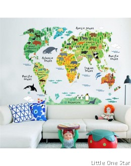 Wall Decor I World Map I Animals Theme