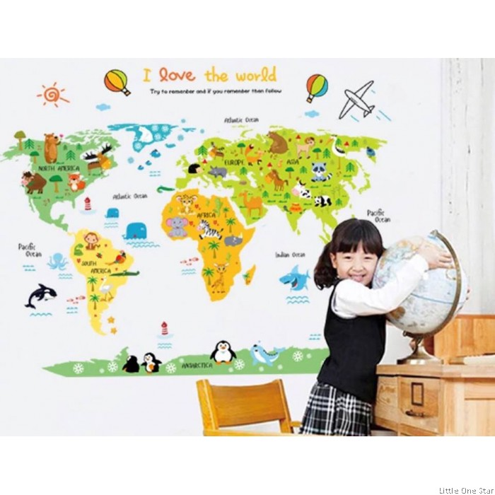 Wall Decor I World Map I I Love the world theme