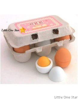 1. Wooden toys: A tray of eggs