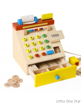 1. Wooden Toys: Cashier Machine in woody color