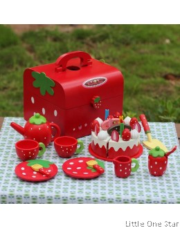 1. Wooden toys: Afternoon tea set with Cakes in Red Box