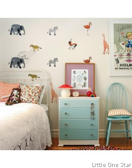 Wall Stickers: Zoo Animals (Watermark paint effect)