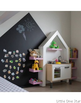 House Shape Black board magnetic wall decal (60cm x 60cm + 30cm)