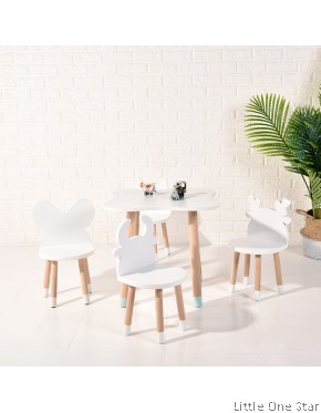 1 Table &  2 pcs Animal Chairs set