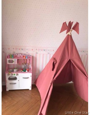 Wooden Toys: Big Kitchen with Microwave Pink