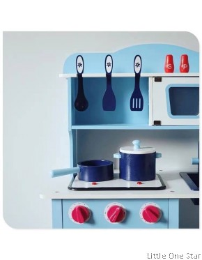 Kitchen: Madness blue kitchen with Oven + Utensils (FREE cooking ingredients)