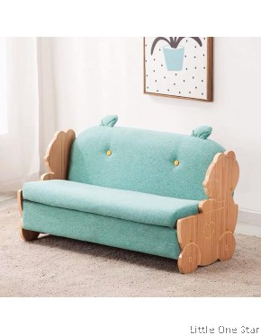 Kids Sofa with wood animals handle (Double seat)