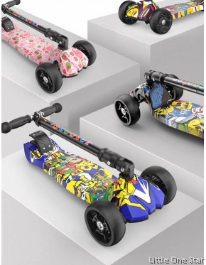 Scooter: Graffiti design with blinking light on wheels (2-16 years old)