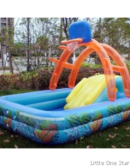 Inflatable Pool: Basketball Ring w Slides