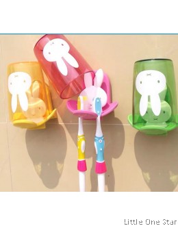 Toothbrush holder: Rabbit with colorful transparent cup