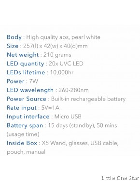 59 sec UVC LED Sterilizer Wand